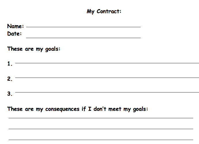 this contract can help the student reflect on their behaviors and consequences that come with them